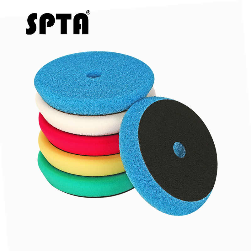 "SPTA 6"" (150mm) Light Cut And Finish Buffing Polishing Pads Buffer For RO/DA Car Dual Action Waxing Polisher 5Pcs Mix Color"