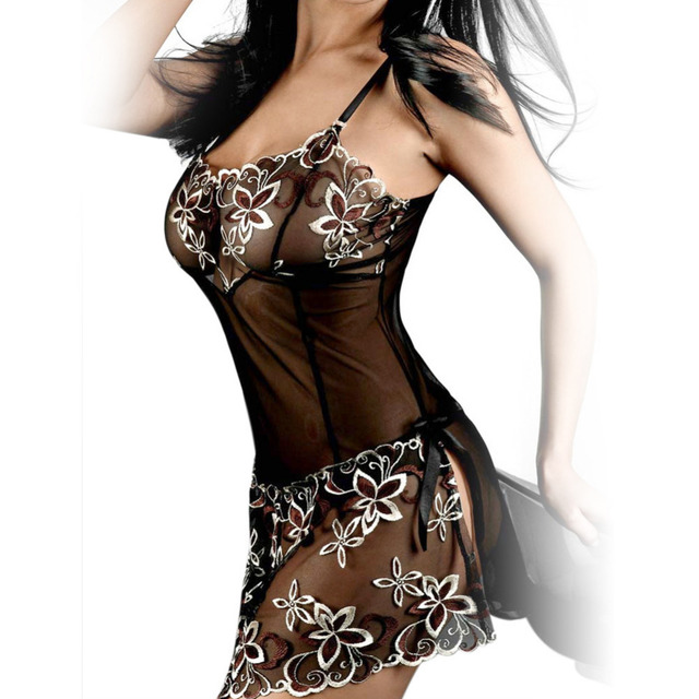 S-6XL Plus Size Lingerie Embroidery Perspective Nightdress Women Sexy Underwear