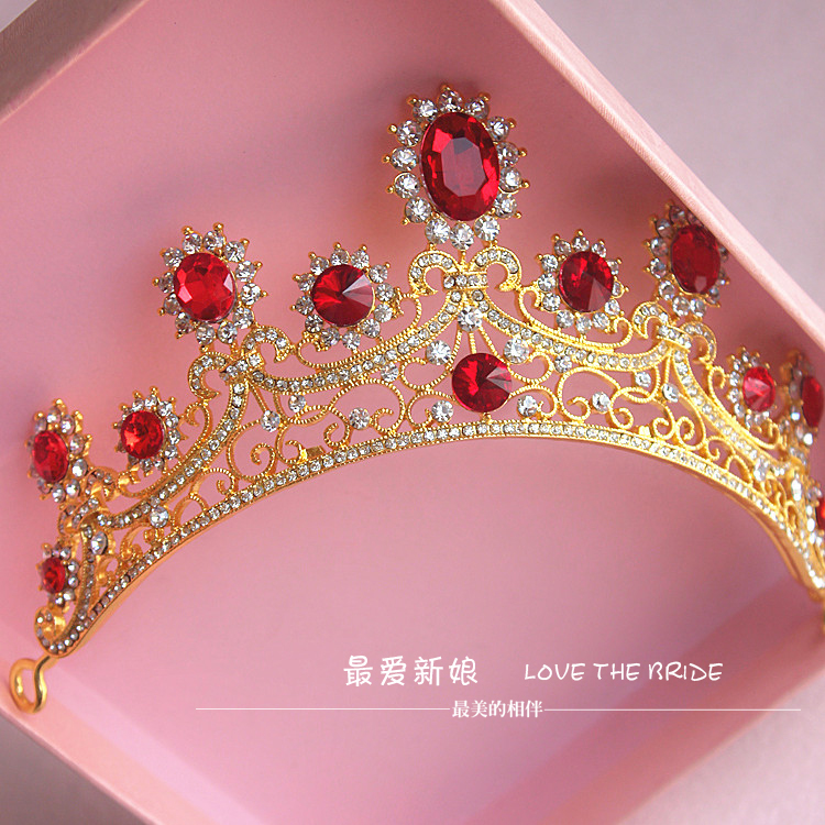 gold alloy red rhinestone bridal hair jewelry Korean retro red crystal crown headdress hair accessories