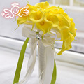 Waterfall Yellow Calla Lily Wedding Bouquets For Brides Artificial Water Droplets Flowers Bridal Brooch Bouquets Ramos De Novia