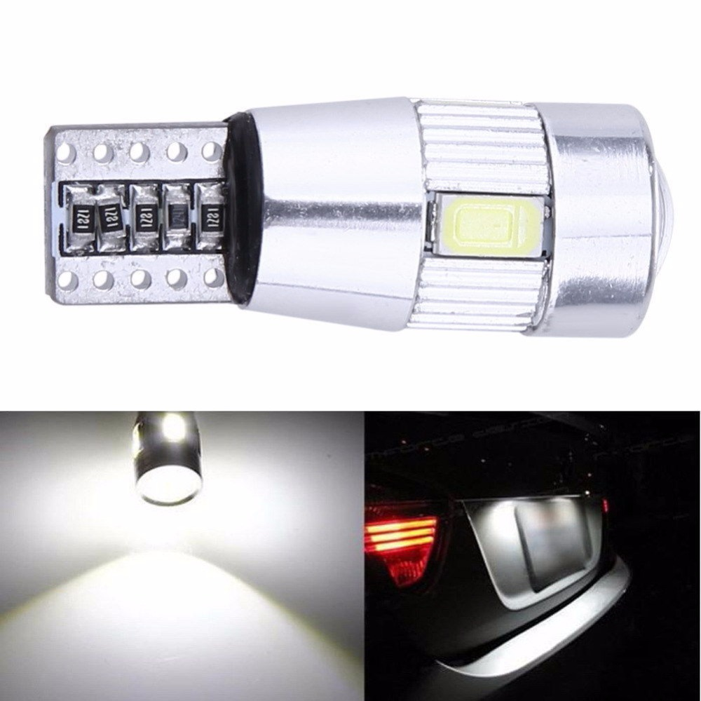 CYAN SOIL BAY 1X Canbus Error Free White T10 5630 6 SMD Wedge LED Light Door Dome bulb W5W 194 168 921 Interior Lamp 4x canbus error free t10 194 168 w5w 5050 led 6 smd white side wedge light bulb