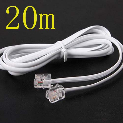 Free shippingHigh Speed 20m 60ft RJ11 Telephone Phone ADSL Modem Line Cord Cable Free sh ...
