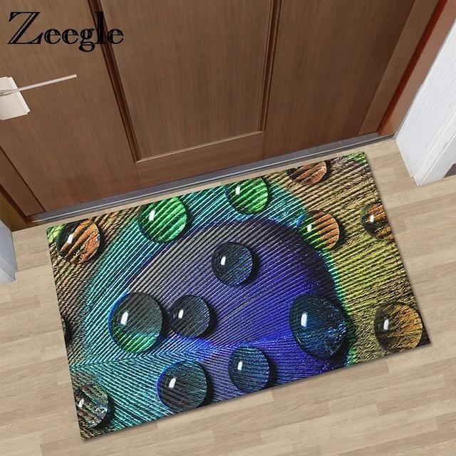 Bon Zeegle Peacock Feather Printed Door Mat Outdoor Carpet Home Floor Mats  Absorbent Kitchen Mat Bathroom Carpet Non Slip Foot Mat