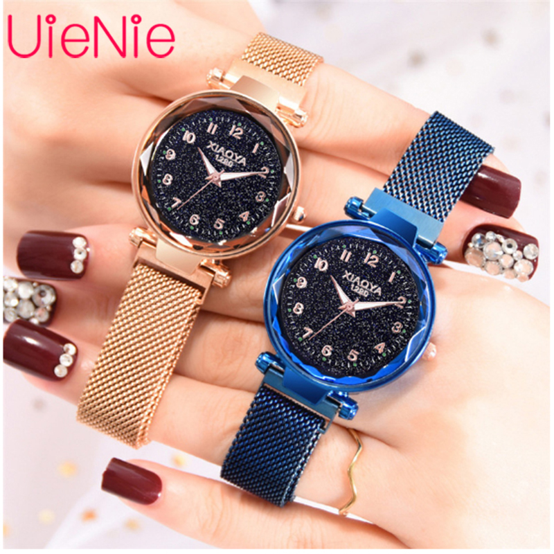 Women Watch Fashion Wild Starry Sky Numeral Milan Magnet Buckle Luxury Fashion Ladies Geometric Roman Numeral Quartz Watch