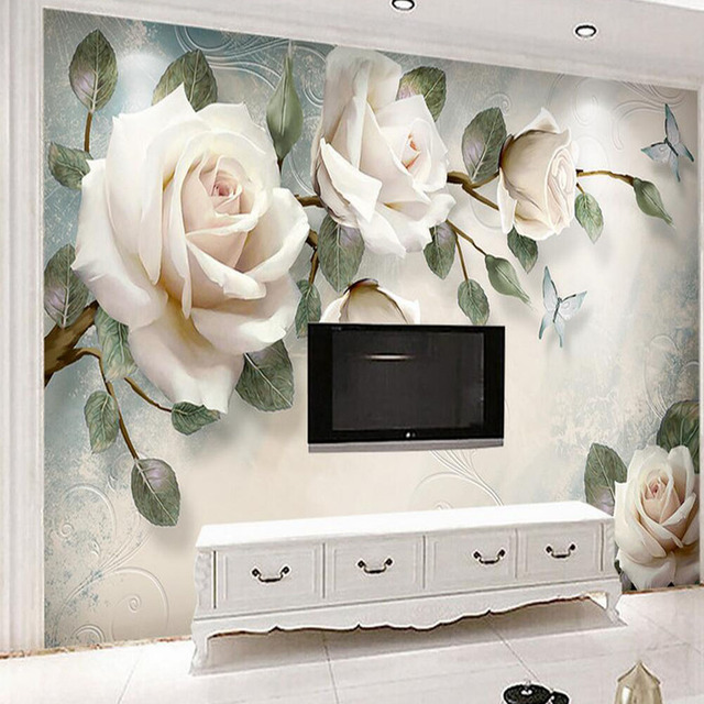 Europaische Tapete Weiss Rose Blume Wandbild Foto Tapeten Wohnzimmer