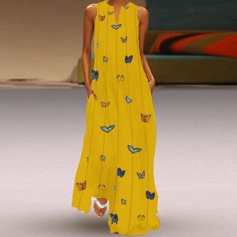 HEFLASHOR Summer Long Dresses Women Butterfly Printed V Neck Loose Big Swing Dress Boho Beach Dress Tunic Maxi Dress Party Wear Islamabad