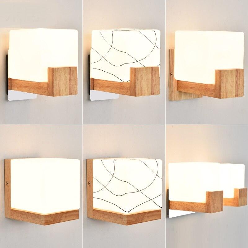 Applique murale en bois de style japonais couloir créatif balcon mystérieux éclairage à tête unique applique murale rectangulaire ZA