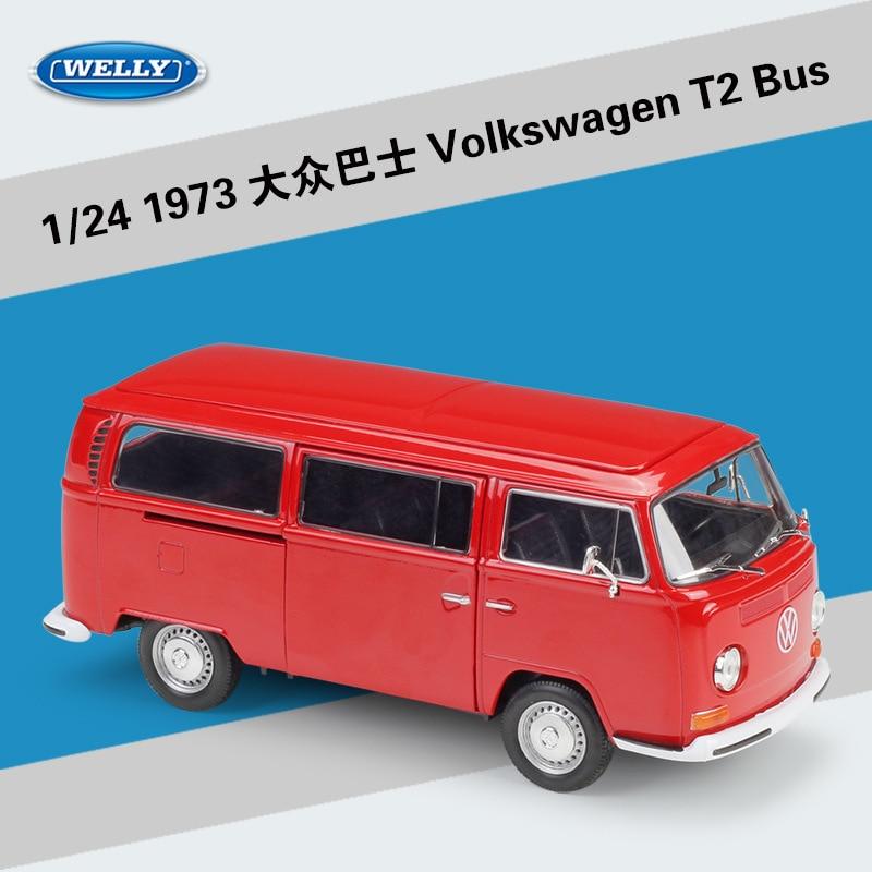 Welly Diecast Escala 1:24 Modelo de Liga de Brinquedo Do Carro Para Volkswagen Van Retro Impressão T2 Liga Ônibus 1972 VW Ônibus Excelente com Caixa Original