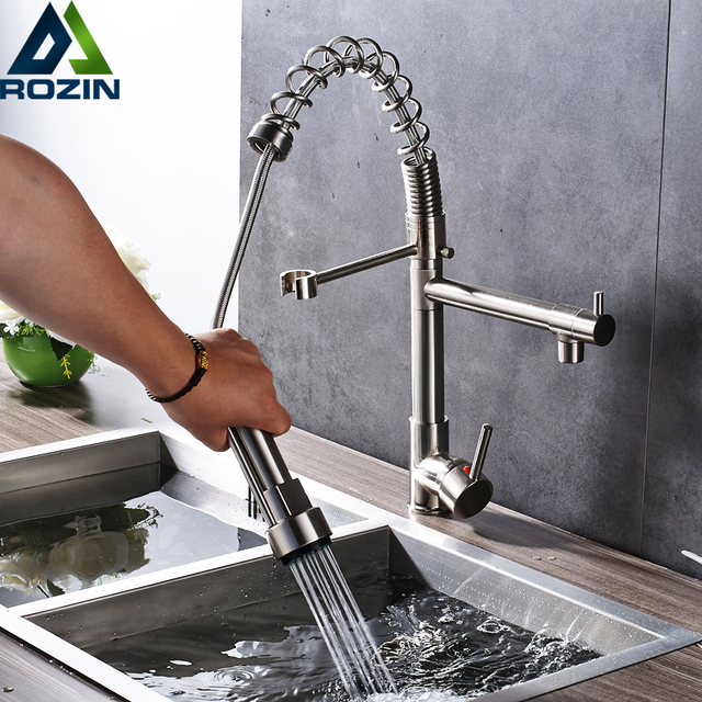 Us 54 15 43 Off Deck Mounted Spring Pull Down Kitchen Faucet Single Handle Two Rotate Spout Hand Held Shower Sprayer Head Kitchen Sink Mixers In