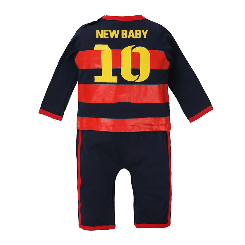 2018 Baby Sport Soccer Long Sleeve Cotton Newborn Baby Clothes Football Sport Jumpsuit 0-12M Free Shipment