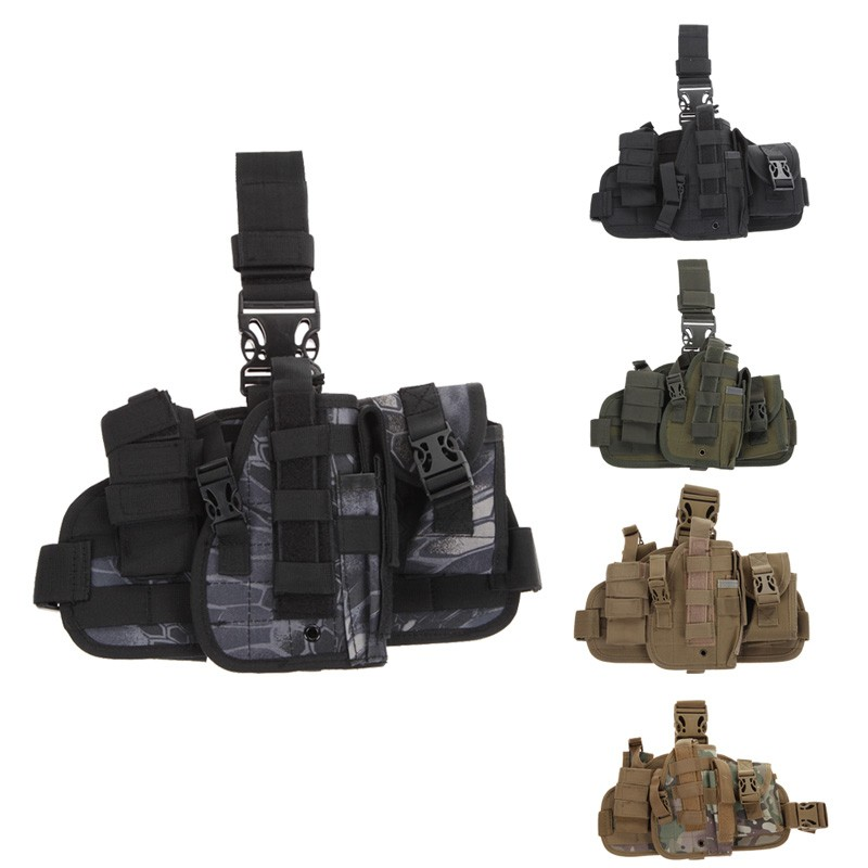 Durable Adjustable multifunction Nylon Outdoor Hunting Waterproof Military Tactical Puttee Thigh Leg Pistol Holster Pouch