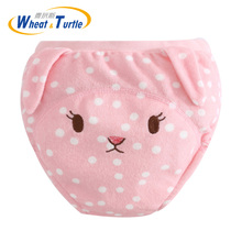 Mother Kids Baby Bare Cloth Diapers Animal Pattern Unisex Training Panties Diaper Reusable Nappy Washable