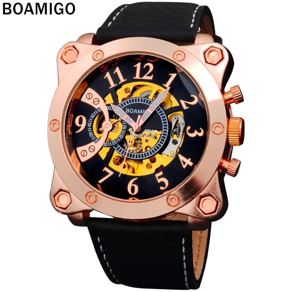 Prix pour 2016 nouvelles montres hommes marque de luxe boamigo militaire sport squelette automatique mécanique montres bracelet en cuir or rose