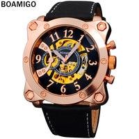 2016 nueva boamigo deportes militares relojes hombres marca de lujo mecánico automático esquelético relojes de pulsera correa de cuero rosa de oro