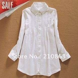 bf07a4fe0d7 White dress shirt for women long sleeve shirts fashion design classic  ladies dresses cotton 100% casual blouses and tops 606W