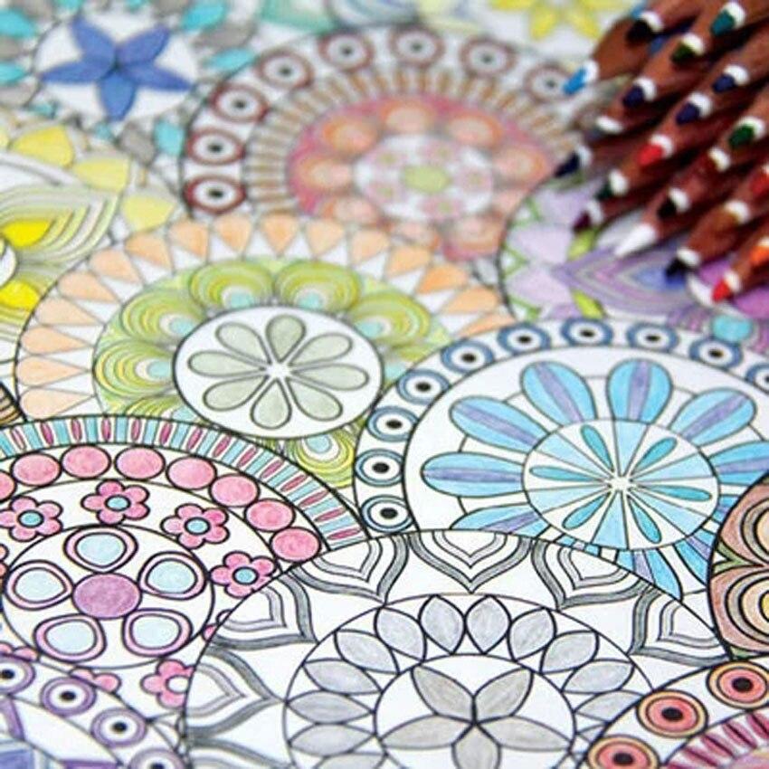 Korea 128 Pages Mandalas Coloring Book 12 Color Pencils