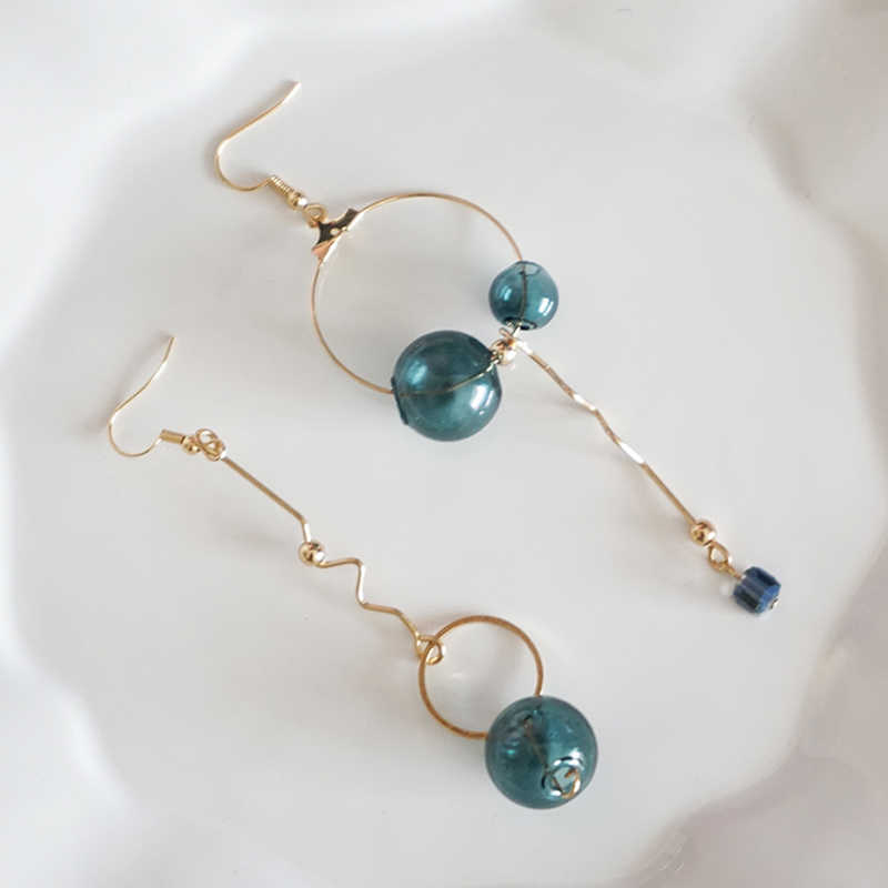 Original Design Vintage Dark Green Glass Ball Circle Dangle Long Earrings For Women 2019 Artsy Asymmetric Bubble Korean Earrings