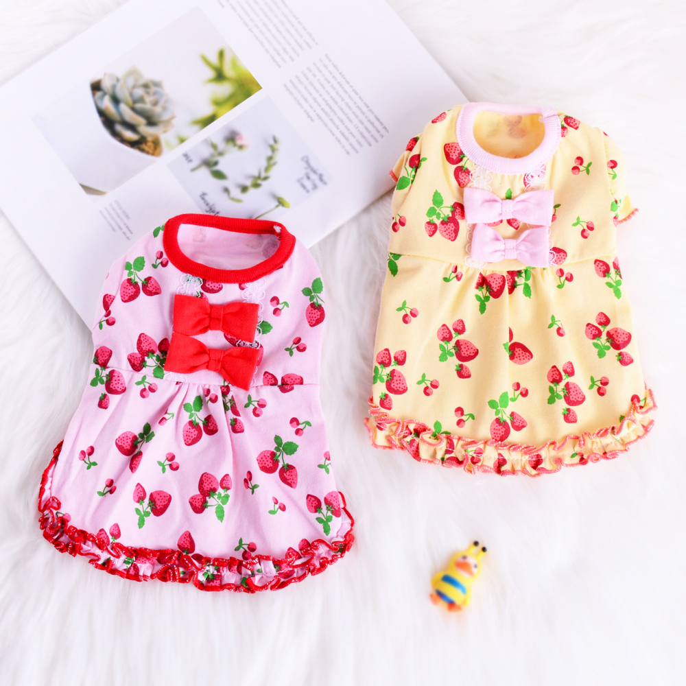 Lovely Yorkie Dog Dress Clothes Cotton Summer Small Pet Cat Apparel Strawberry Puppy Poodle Skirt