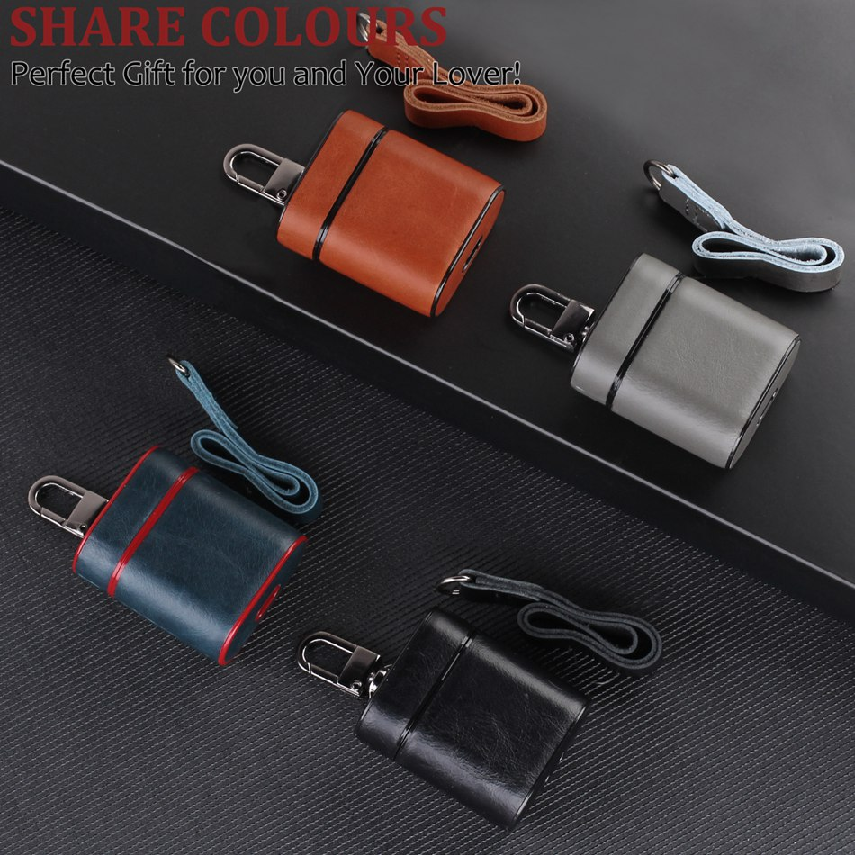For AirPods Case Genuine Leather Bluetooth Wireless Earphone Protect Cover For Apple Airpods Charging Box With Carabiner Lanyard