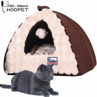 Hoopet Pet Cat Bed House for Cat Tent Shaped Dog House Kitten Puppy Cuddly Cave Cat Basket Removable Cushion Mat