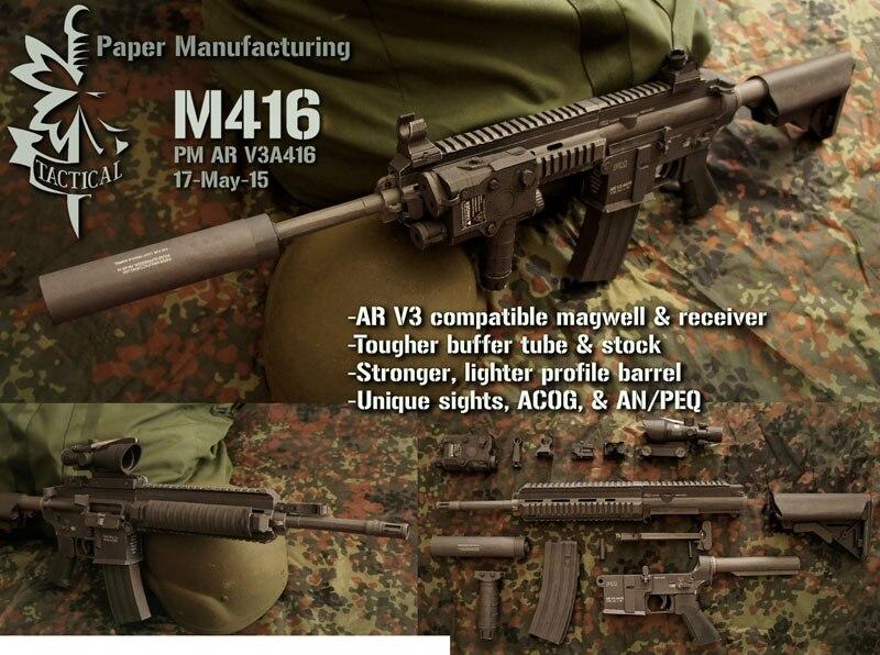 95cm 1:1 HK416 M416 Paper Model Assault Rifle Submachine Gun Puzzle Game Boy Girl Gift
