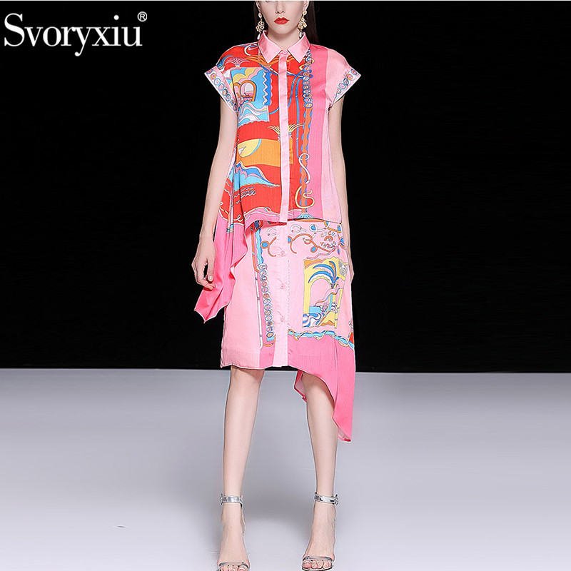 Svoryxiu Elegant Runway Zomer Roze Gedrukt Rok Pak vrouwen Casual Vakantie Party Asymmetrie Fashion Tweedelige Set Vrouwelijke-in Sets voor dames van Dames Kleding op  Groep 1