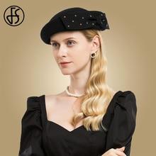 FS Black Green Wool Lady Hats Fascinator Wedding Pillbox Hat For Womens Elegant Derby Winter Church Dresses Felt Fedoras
