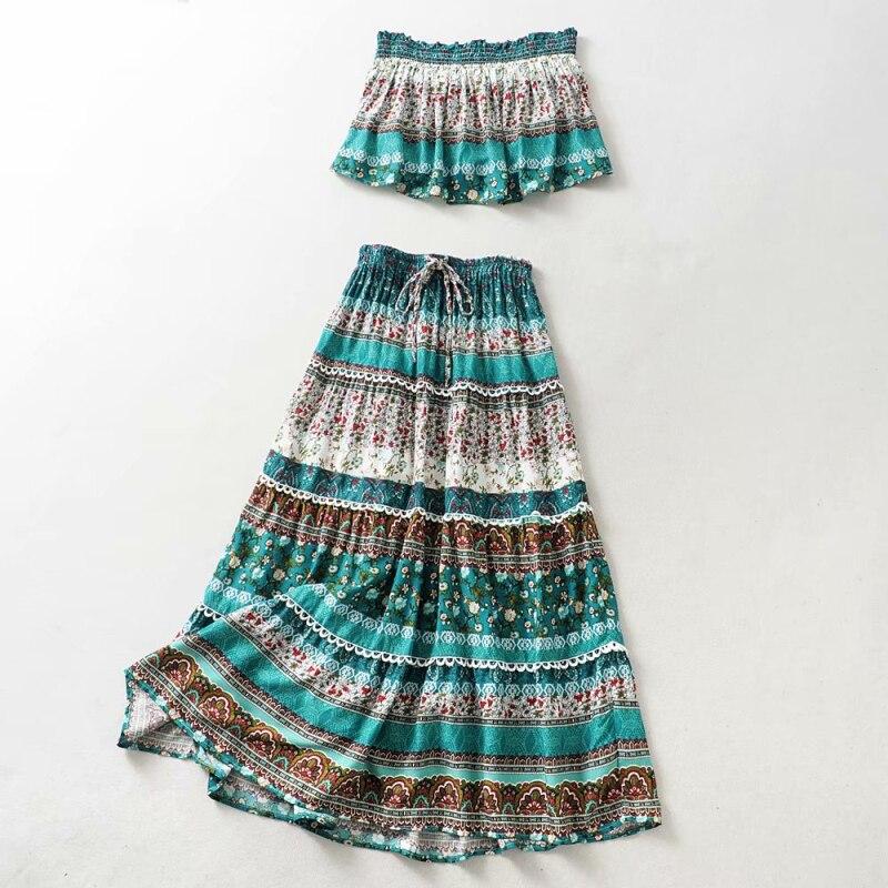 d5073042a Flores estampado Boho Maxi Faldas Mujer conjunto 2019 Slash cuello corto  Crop Tops cintura elástica ...