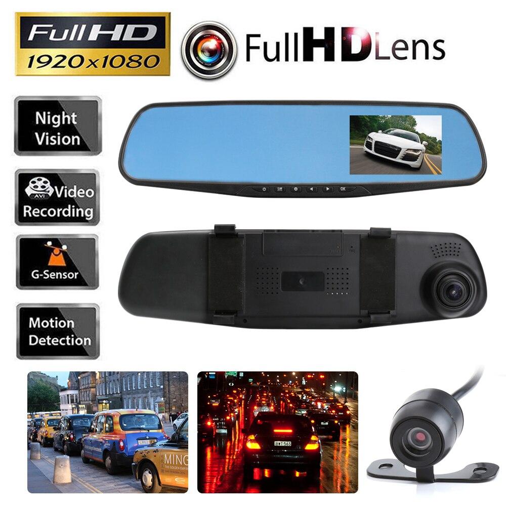 imágenes para Cámara del coche DVR Espejo Retrovisor del Dvr Lente Dual Dash Registrador de la leva de Vídeo Registrator Videocámara Full HD 1080 p sensor de G DVRs