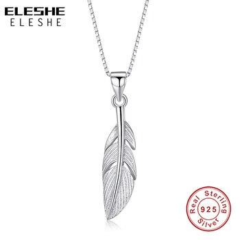 8fcc79a9ea09 ELESHE 925 collar de plumas de plata esterlina para mujer collares colgantes  collar de cadena de moda accesorios de mujer joyería