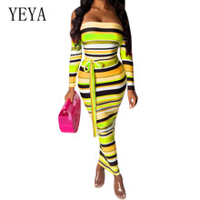 YEYA Explosive Striped Print Dress with Belt Sexy Off Shoulder Long Sleeve Bodycon Bandage Pencil Dress Women Elegant Vestidos flamingo print striped box pleated dress with belt