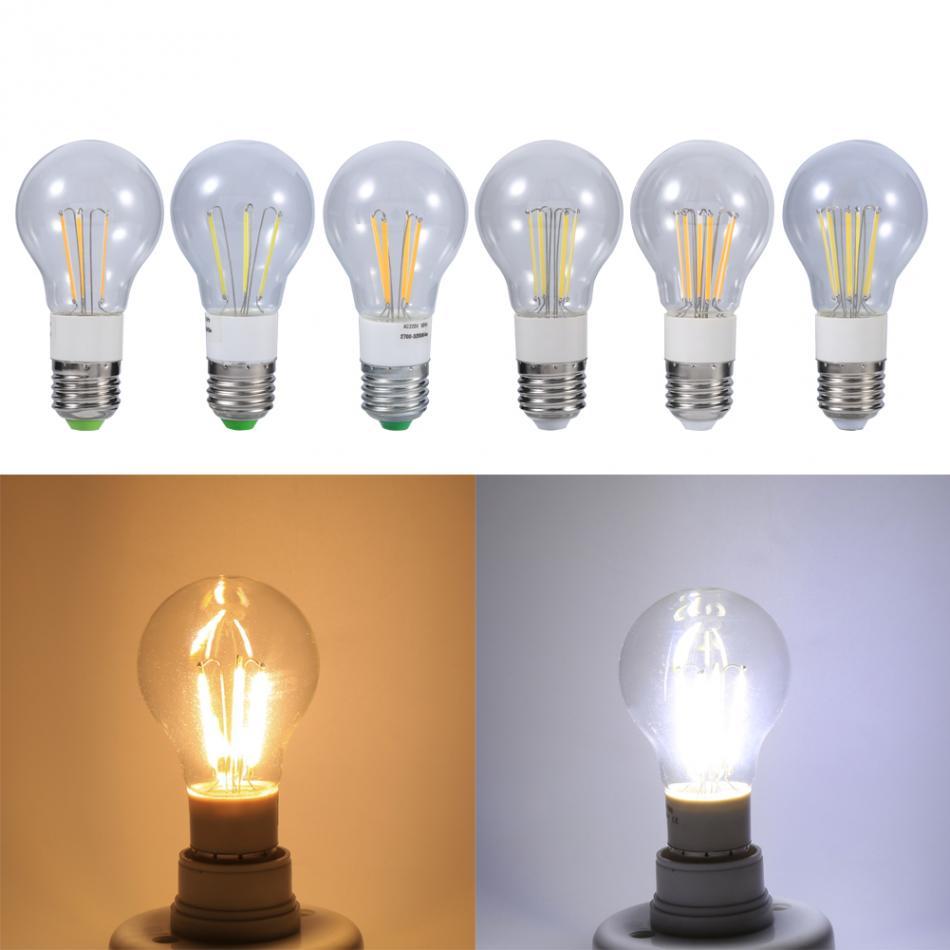 E27 12V 3W//4W//6W Cool//Warm White COB LED Filament Bulb Non-dimmable Light New