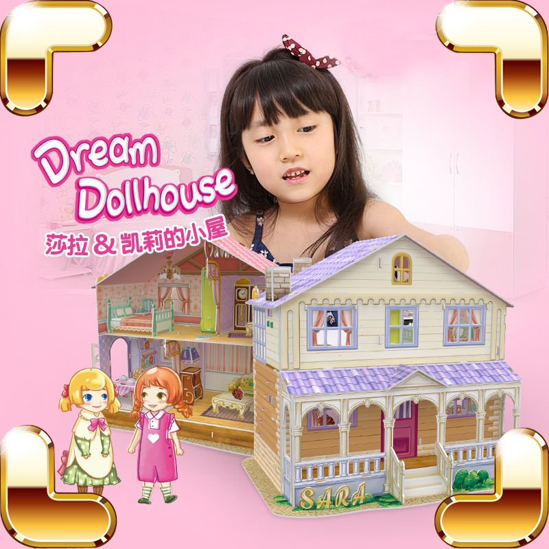 New Arrival Gift Dollhouse Series 3D Puzzles Building Construction DIY Cute Model Puzzle Game Children Kids Educational Handmade