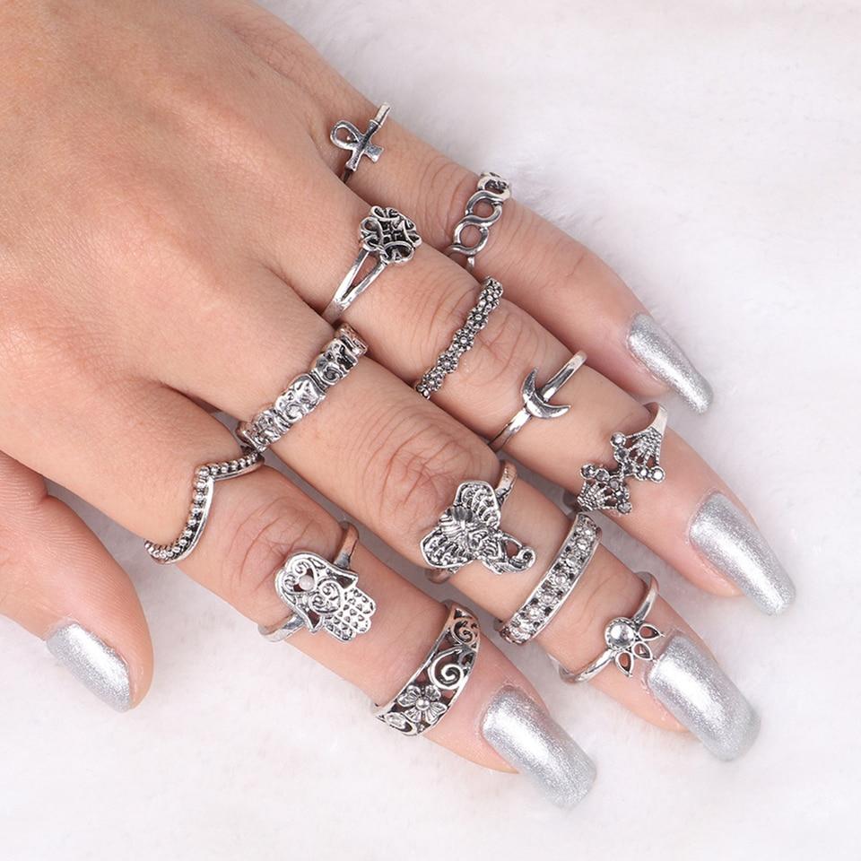 13pcs Boho Elephant Fatima Finger Knuckle Ring Band Midi Rings Stacking Ring CS