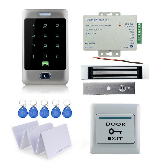 C30 teclado táctil lector de metal de control de acceso RFID kit completo + 180 KG cerradura magnética + fuente de alimentación + exit botón + 10 unids TK4100 tarjetas llave