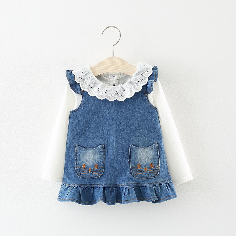 Baby girls Dress spring tide cowboy Korean Denim Vest  Dress + Long sleeve shirt sets 0-1 year(China)
