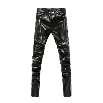 New Arrived Personality Male Leather Pants Male Slim Leather Pants Men's Clothing PU Pants Male Casual Pants