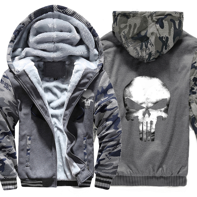 SKULL PUNISHER CAMOUFLAGE  ZIP UP HOODIE JACKET (3 VARIAN)