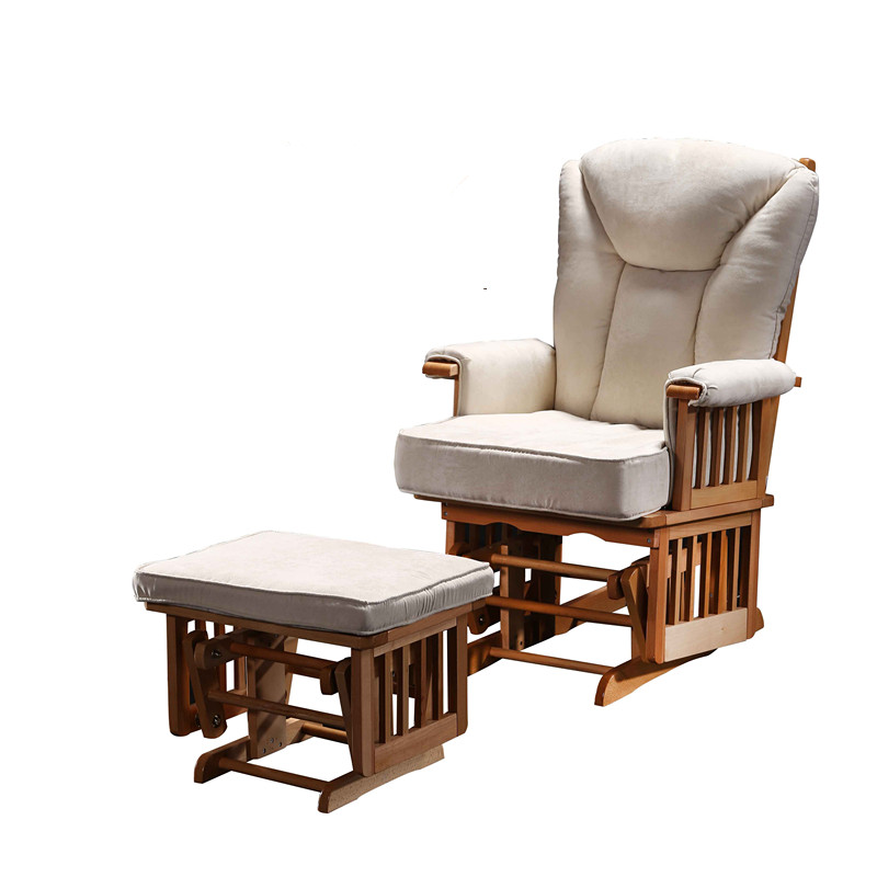 American Furniture Glider Rocker & Ottoman For Baby Nursery Living Room Wood Rocking Chair Armchair Removable Cushions Beige