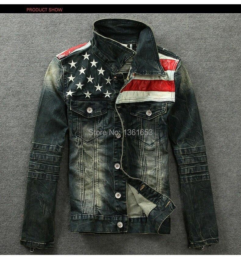 Drapeau américain veste en jean pour hommes mode moto manteau cowboy veste denim manteau denim veste avec fourrure pour hommes