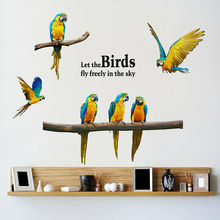Removable Flying Parrot Macaw Wall Sticker Birds Animal Decal Art Home Decoration Room Decor Hot стоимость