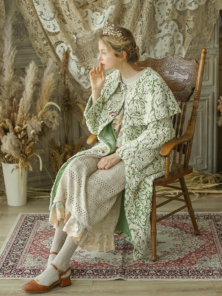 De Laine Conception Broderie Originale Survêtement Pardessus Vert Femmes Vintage Main Chinoiserie Lynette's D'hiver BwqCCT