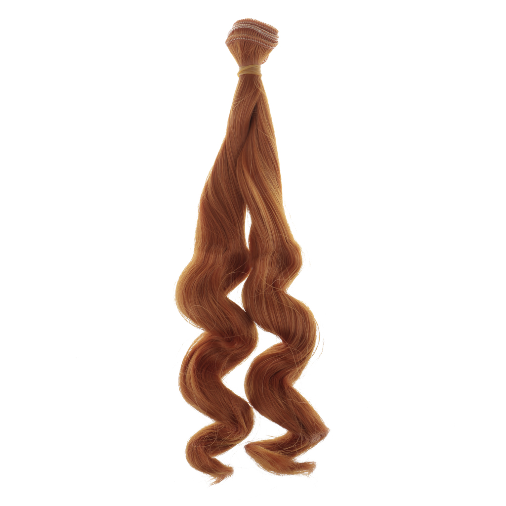 Fashion DIY Curly Hair Wig for 1/3 1/4 1/6 Blythe Barbie Doll Yellow Brown