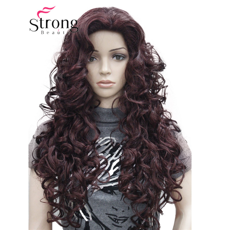 5950 99T fashion sexy Red Wine long curly womans full wig 99T(3)
