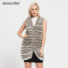 2019 New Fashion Natural Rabbit Fur Knitted Vest Women Real Rabbit Fur Long Gilet S7111 vr046 knitted knit new real rabbit