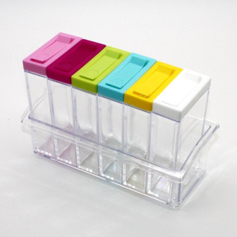 1 piece Spice Jar Seasoning Box 6Pcs Set Kitchen Spice Storage Bottle Jars Transparent Salt