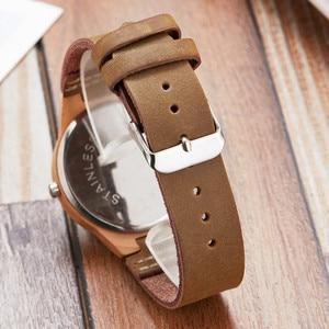 Image 4 - Женские часы с имитацией дерева, Модные Аналоговые кварцевые наручные часы с ремешком из мягкой кожи, уникальный дизайн в виде лося