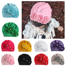 Yundfly Infant Newborn Caps with Pearl Chiffon Flowers Cotton Blend Kont Turban Girls Stretchy Beanie Hat Baby Hair Accessories