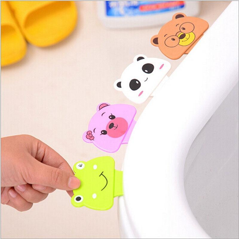 Toilet Cover Lifting Device Toilet Seat Cover Cap Opener Cute Cartoon Portable Lavatory Cover Helper 4 Colors