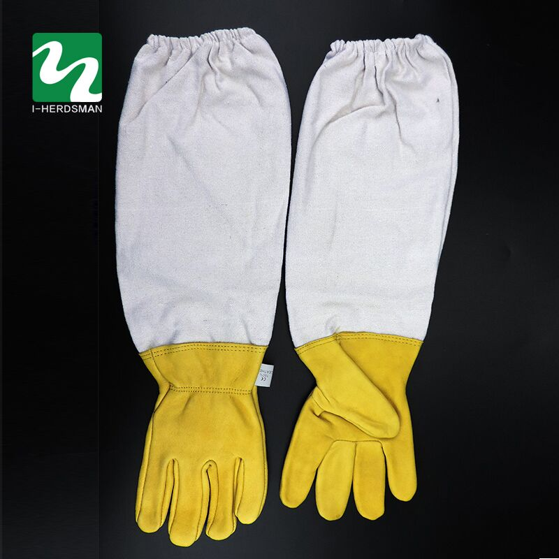 1Pair Beekeeper Prevent Gloves Protective Sleeves Ventilated Professional Anti Bee for Apiculture Beekeeper Beehive Yellow/White